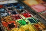 Original water colour pans have been re-filled with tube water colour.