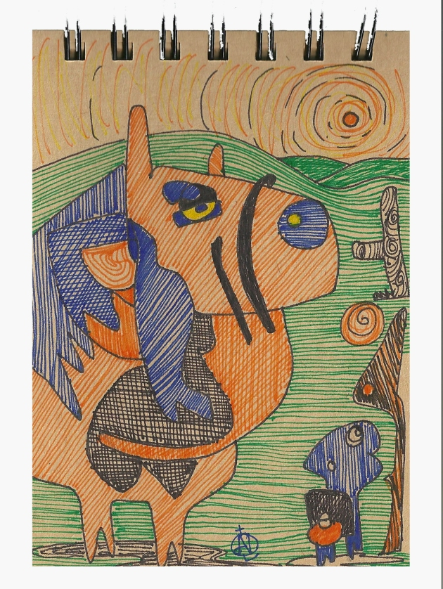 #15 A Horse / Un Caballo Markers on Brown Paper  Notepad Size: A6 148 x 105mm