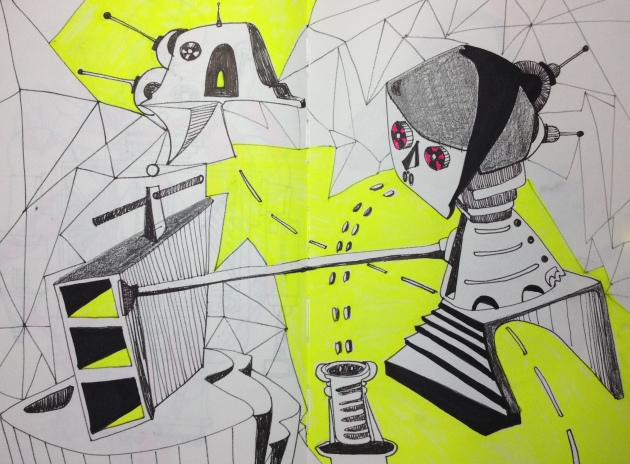 "Robotic Dreams of a Better Future Black Marker and Highlighter on 8 x 5.5"" Sketch Book"