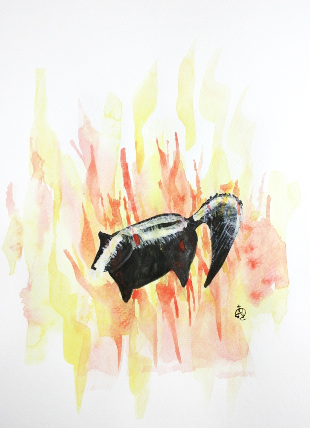 "Skunk on Fire #2 Ink and Watercolor 15"" x 11"""