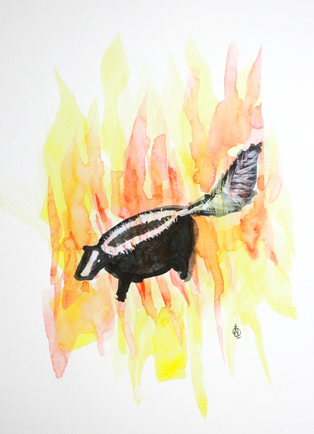 "Skunk on Fire #3 Ink and Watercolor 15"" x 11"""