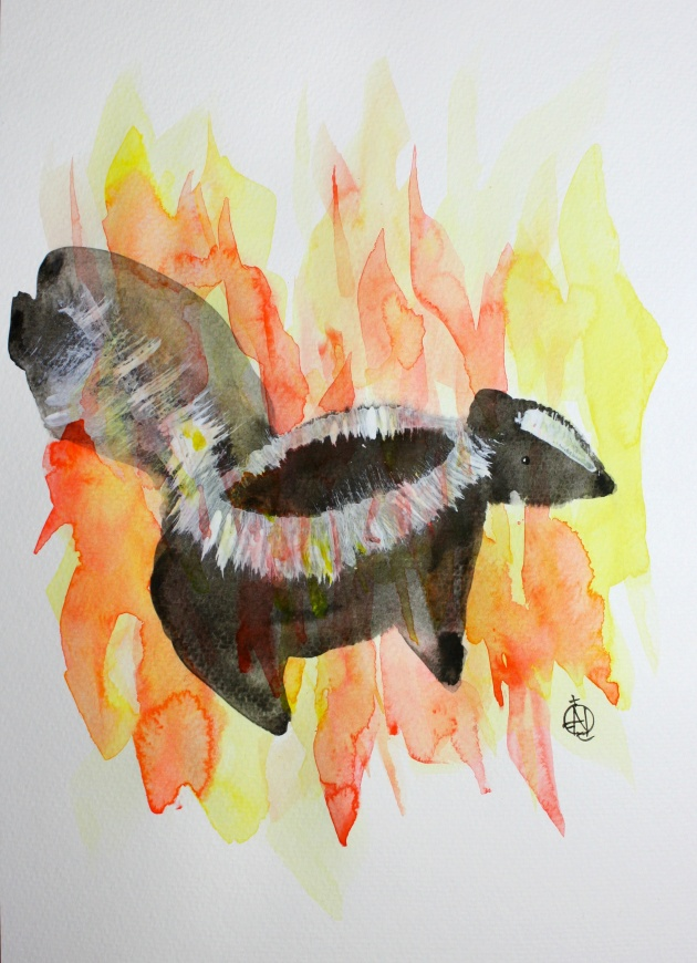 "Skunk on Fire #4 Ink and Watercolor 15"" x 11"""