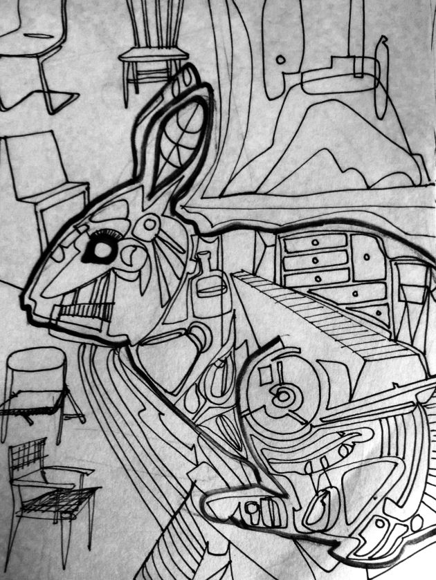 From the sketchbook. Rabbit and chairs